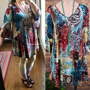 Tops - Leaf Print Tunic/Dress With Pockets
